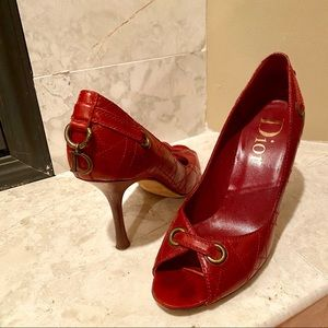 Vintage Dior Red Quilted Leather Peep Toe Pumps